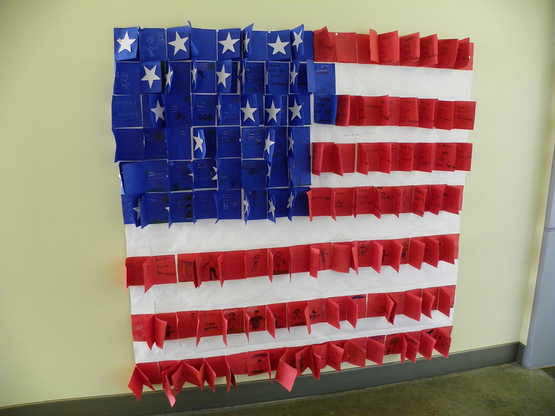 "American Flag  created by children, on display at the V.A.'s Long Beach Medical Center. Each flap reveals the words ""Thank You For Our Freedom""."