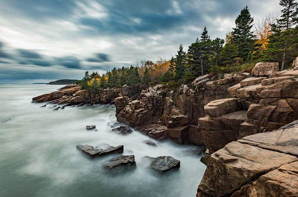 Acadia National Park's rocky coastline in autumn.