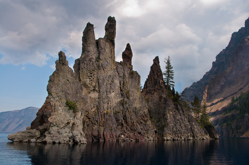 Phantom Ship is the 2nd visible island in the lake, formed by an eroded volcanic dyke.