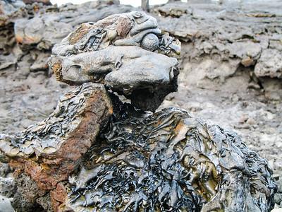 Molten lava in skull formation