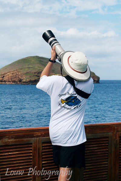 Taking photos of birds aboard the M/Y Letty.