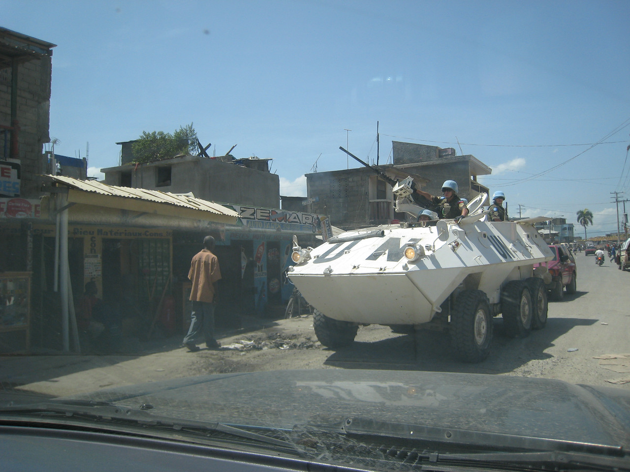 A tank driving down the street.  We saw UN military patrols constantly, usually in SUV's