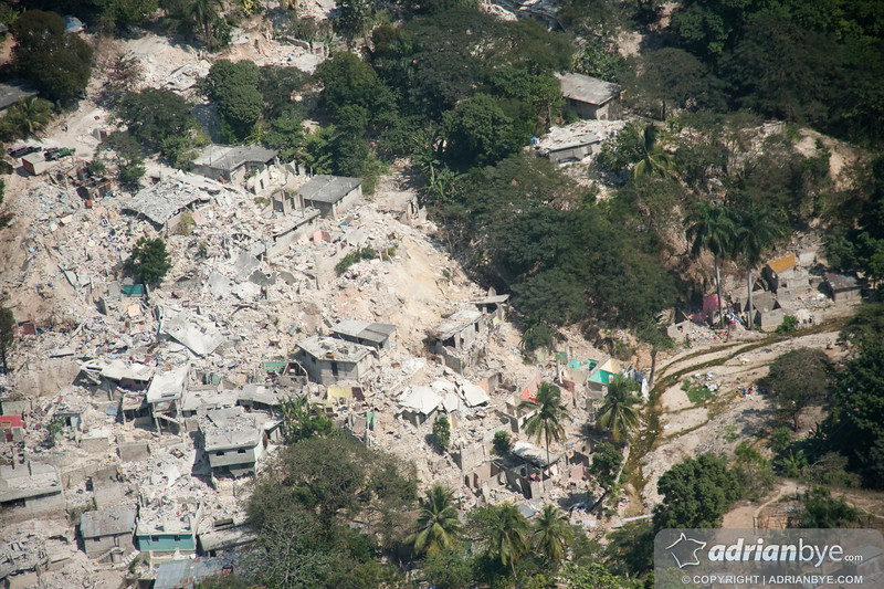 One of the fallen suburbs in Port Au Prince