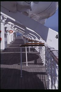 Promenade deck on the Queen Mary, Long Beach, CA, USA