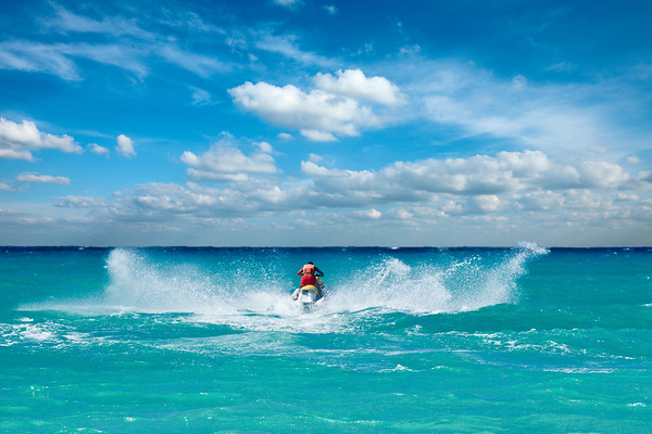 Man riding jet ski