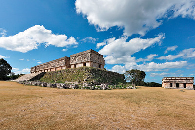 Ancient mayan ruins of government palace. Uxmal, Merida, Mexico