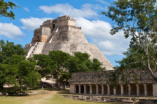 Mayan pyramid (Pyramid of the Magician, Adivino) in Uxmal, Mexico