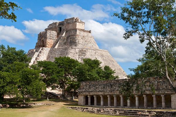 Mayan pyramid (Pyramid of the Magician, Adivino) in Uxmal, Mexico