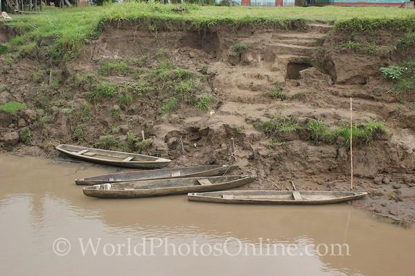 Amazon River - Village of Cedro Isla - Dugout canoes