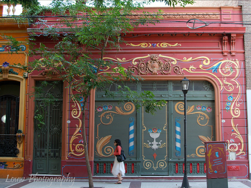 """Filete"" (Buenos Aires folk art) on a building, Buenos Aires, Argentina"