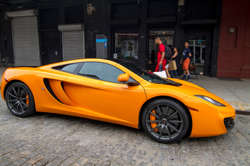 A McLaren parked on the cobblestone streets of NYC in the Meat Packing District