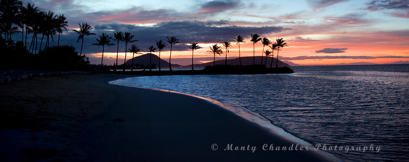 Multi-image Pano of a sunrise on the southern shore of Oahu Island in Hawaii