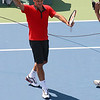 Roger Federer waves to the crowd after winning his match against Lleyton Hewitt.  2009 U.S. Open Round 3. September 5, 2009.
