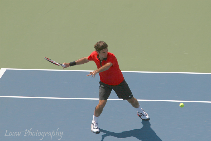 Roger Federer at the 2009 U.S. Open Round 3 vs. Lleyton Hewitt. September 5, 2009.
