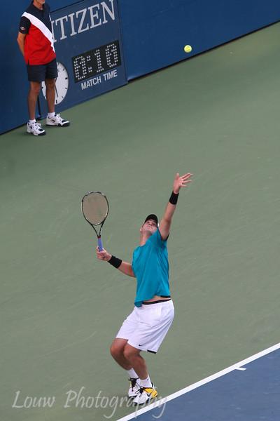 John Isner at the 2009 U.S. Open Round 3 vs. Andy Roddick. September 5, 2009.