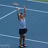 Melanie Oudin reacts after winning her match against Maria Sharapova.  2009 U.S. Open Round 3. September 5, 2009.