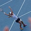 Melanie Oudin celebrates after winning her match against Maria Sharapova.  2009 U.S. Open Round 3. September 5, 2009.