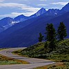 Winding road in the Teton range in the Grand Teton national park, Wyoming, USA
