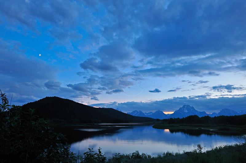 Lake at dusk in the Grand Teton national park, Wyoming, USA