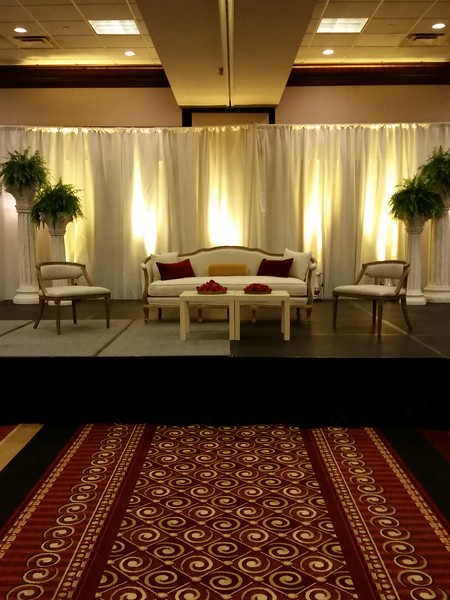 Ivory Drapes and yellow uplights at the Marriott 280 in Birmingham