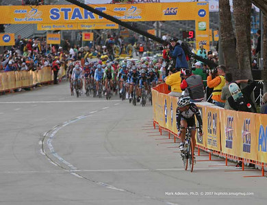 0759 Health Net-Maxxis' Tim Johnson  rolls away from the peloton after 1 lap