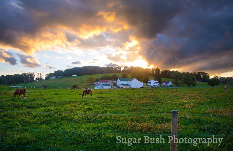 Fall Sunset over an Amish Farmstead