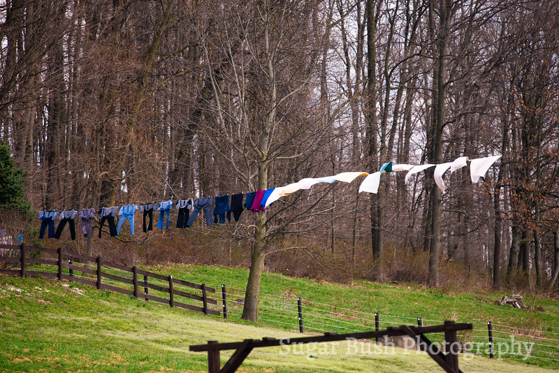 Laundry Drying on an Amish Clothesline