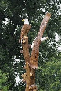Carved eagles on 2nd Street in Wolcottville