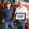 "Bill with Fire Chief Liberti after presenting him with a photo dated 1913 of Amsterdams first motorized fire truck ""AFD No. 1"""
