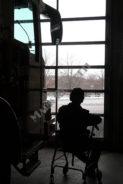 """Retired Amsterdam firefighter Bill """"Tex"""" Armstrong stopped by the firehouse recently with his daughter Lynn, here he is , maybe thinking about the """"Old Days""""     Bill passed away 7 days later on 1-18-2011"""