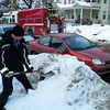 Amsterdam firefighter Ron Kaszuba (new guy), finds a hydrant buried in the snow