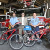 Amsterdam Fire Department recently acquired 2 bicycles donated by Sean Piasecki of Eastern Medical Support; the lettering of the bikes and helmets was donated by Performance Auto Body of Amsterdam. They will be outfitted with medical equipment and manned by AFD firefighter/paramedics at certain events, the bikes will be used at events where vehicle access is limited. The bike EMS program in which its first appearance treated 5 pt's at the Amsterdam Park Fest.<br /> <br /> <br /> Photo left to right, Amsterdam firefighter/paramedic Kenny Brooks, Sean Piasecki of Eastern Medical Support, Amsterdam firefighter/paramedic Timmy Miller