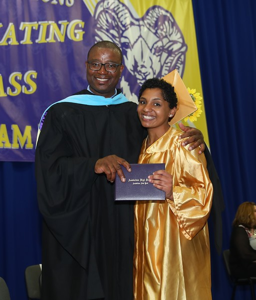AHS Principal Tyrone O'Meally with graduate Angelia Williams