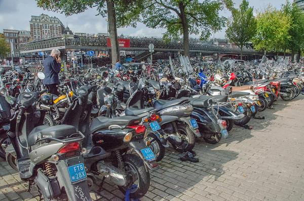 Massive bike parking garage at Amsterdam Centraal Train Station