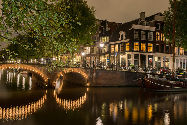 Amsterdam's canals at night