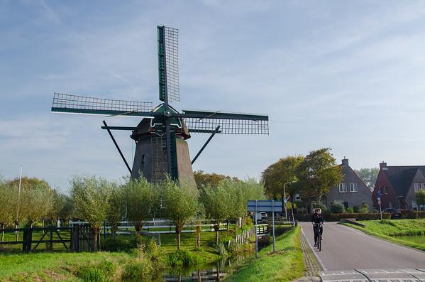 A historic windmill (Moulen de Veer) in Spaarnwoude, Netherlands