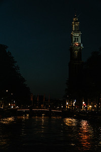 Church Looming Over the Canals of Amsterdam