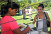 Nicole Villa,r, buys food from Kiara Figueroa, l