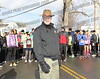 """There's a new sheriff in town."" The Honorable Joseph Sise readies to start the 26th Annual Winter Wimp Foot race in Hagaman organized by the Fulmont Roadrunners."
