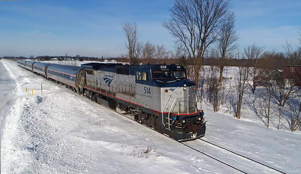 Amtrak Adirondack, l'Acadie, Quebec, January 10 2018.