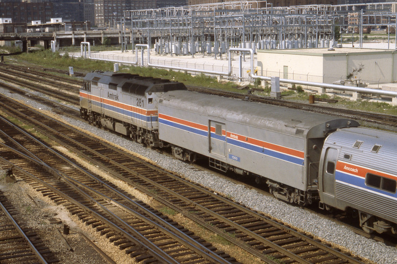 Amtrak F40 #281 with Amtrak Baggage Car #1360, built for the U. S. Army by St. Louis Car Company in 1953 as an Army Kitchen Car.