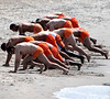 6-18-11 - lifeguards doing their morning exercise routine