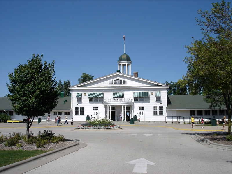 The Pavilion building of Bay Beach Amusement park was built in 1909 and once housed a rollerskating rink and still has a large ballroom.   It serves as the primary food concessions and restrooms for the park.