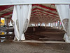 Empty flea market tent (3 out of the 4 tents are completely empty) - the food tent was also empty as there are no food vendors.