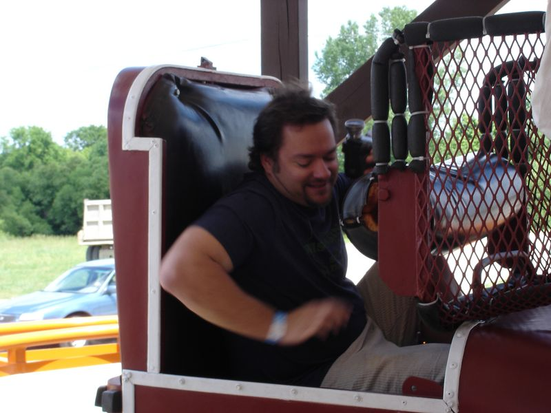It's a blurry photo, but it gives you an idea of the cramped space you are in - Mike had never been on a Toboggon before.