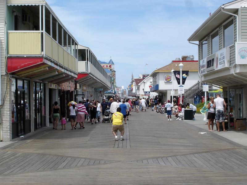 Looking up the boardwalk in Ocean City, MD