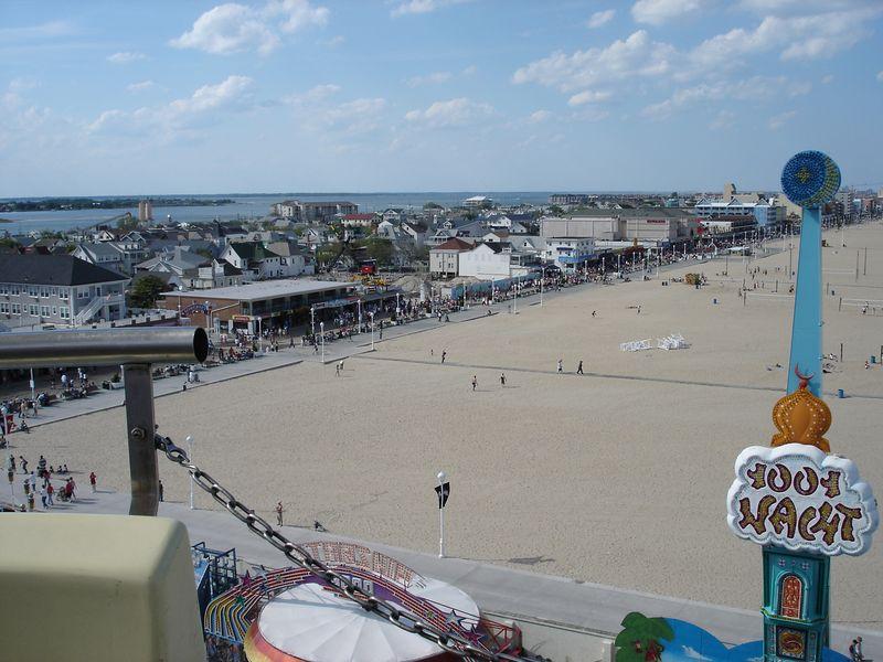 Looking north up the boardwalk in the OC - taken from the Pier Amusement's ferris wheel