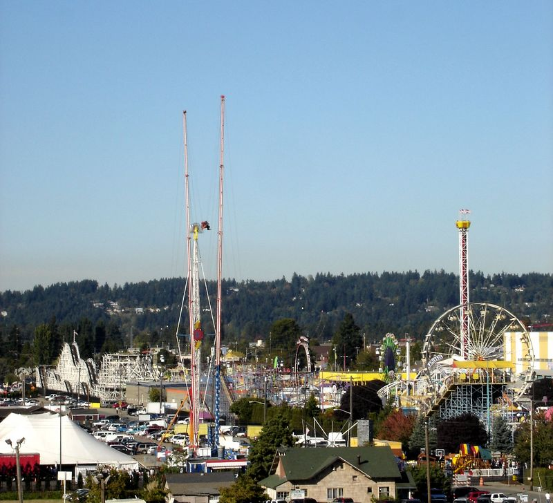 Overview of the Pullyalup Fair.  You can make out many of the rides including the S&S tower, slingshot, the Soriani Turbo Force (on loan from Thrillsville USA), the Coaster, Ferris Wheel and much more.