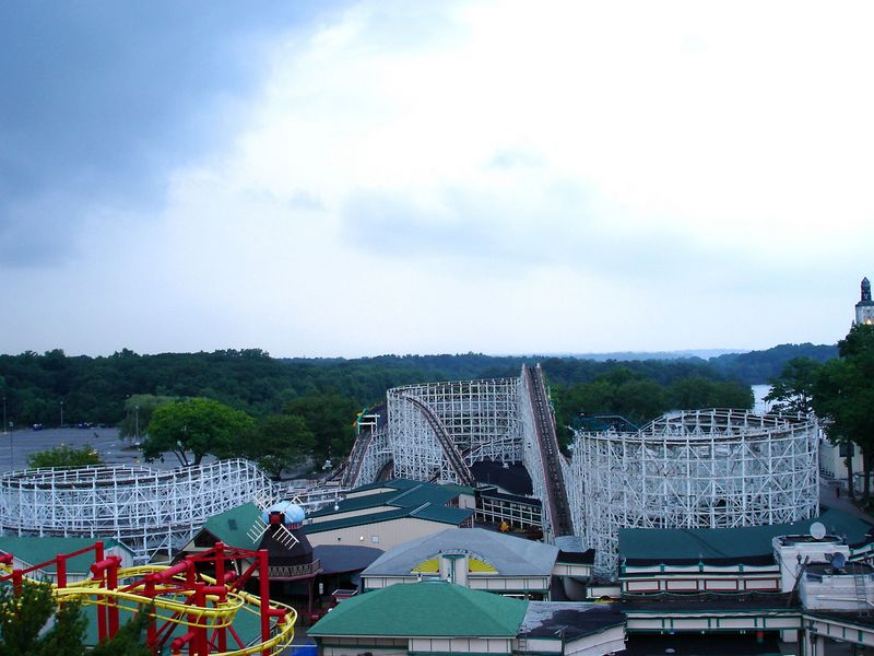 Taken from the Ferris Wheel - this shot gives you a good shot of the Dragon coaster (1928 Prior & Church), the windmill for the Old Mill (1928 Prior & Church), and a little bit of Superflight (2004 Zamperla Volare).