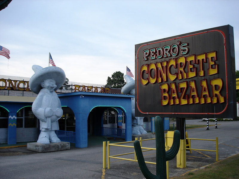 Pedro's concrete bazaar was once a sprawling indoor mini golf course - it's now a concrete lawn ornament outlet.
